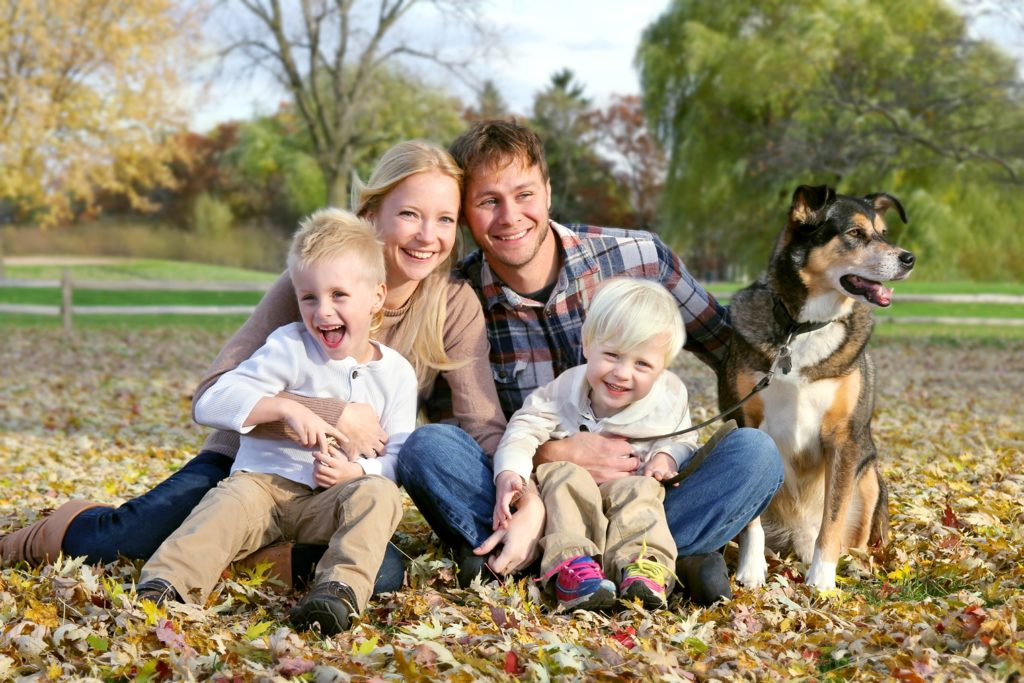 Happy Family and Pet Dog