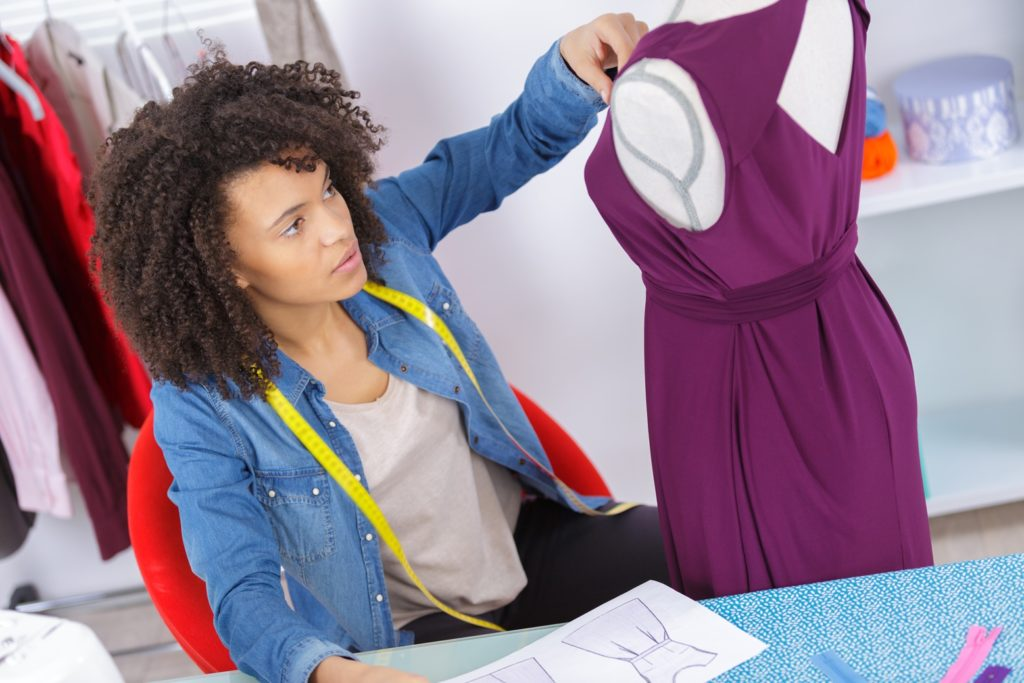 woman designing new dress