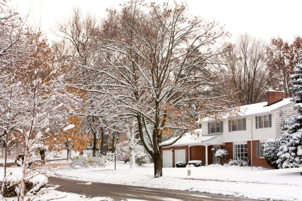 Suburban home in winter