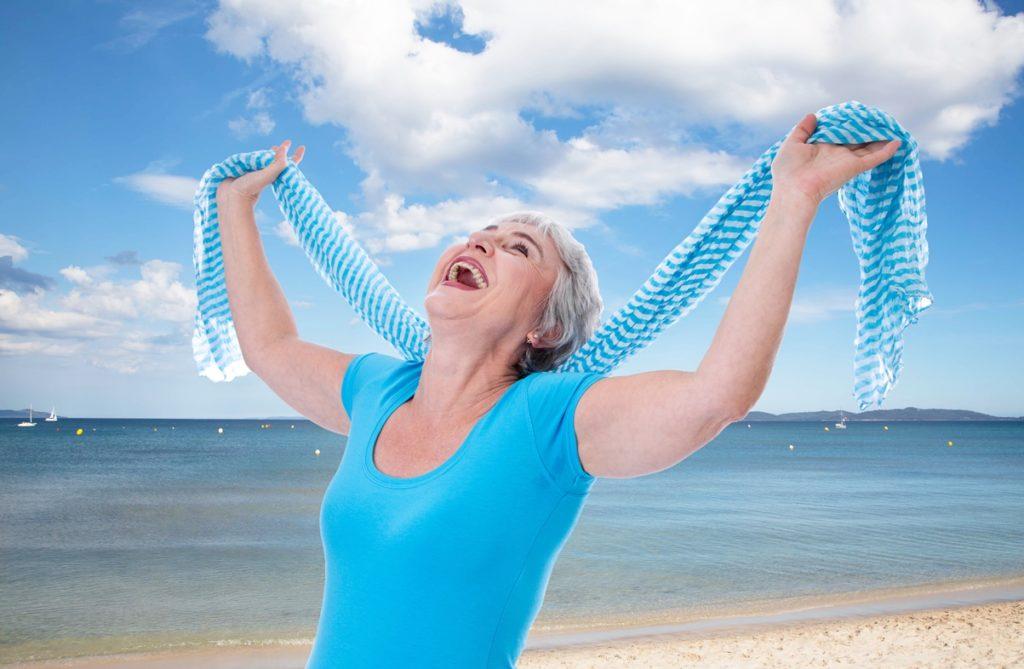 joyful woman at beach